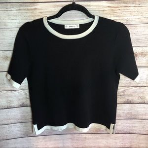 Zara | Black and White Crop Sweater
